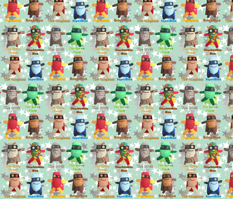 Mooglee Superheros Teal fabric by smuk on Spoonflower - custom fabric