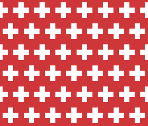 Swiss flag - white cross on red fabric by little_fish on Spoonflower - custom fabric