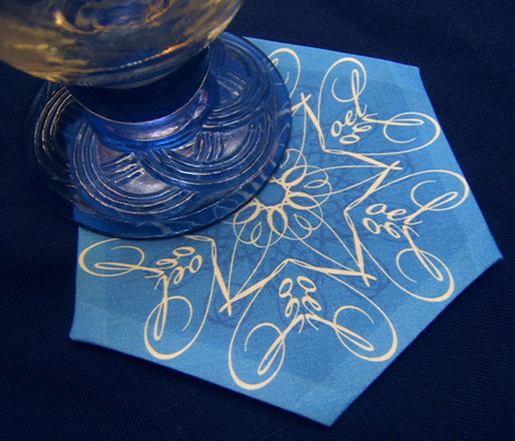 Calligraphic Snowflake napkins (or coasters, or ornaments...) in ice blue