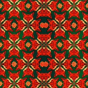 Green Fox Geometric Pattern