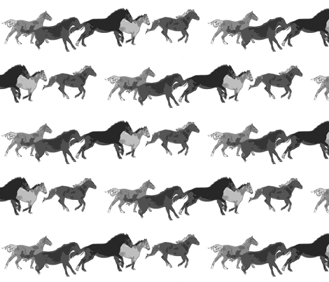 Galloping Horse Herd black and white watercolor fabric by ravenwoodstudiodesigns on Spoonflower - custom fabric