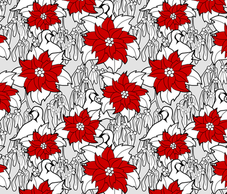 Poinsettia repeat fabric by elainethebrain on Spoonflower - custom fabric