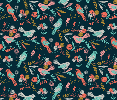 Bloom Birds fabric by bethan_janine on Spoonflower - custom fabric