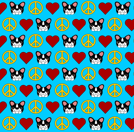 Peace, Love & French Bulldogs! fabric by missyq on Spoonflower - custom fabric