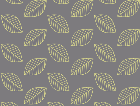 Canary Leaves in Yellow and Gray fabric by fridabarlow on Spoonflower - custom fabric