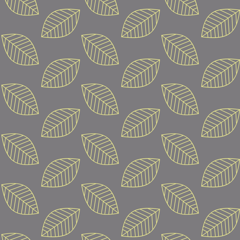 Falling Leaves in Yellow and Gray fabric by fridabarlow on Spoonflower - custom fabric