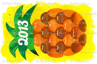2013 Pineapple Tea Towel Calendar (sized for Linen Cotton)