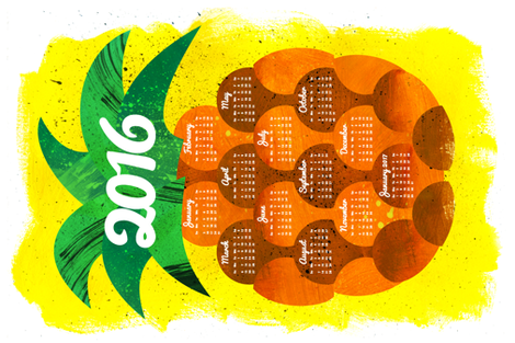 2016 Pineapple Tea Towel Calendar (sized for Linen Cotton)