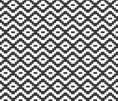 Brick Diamonds - black and white fabric by little_fish on Spoonflower - custom fabric