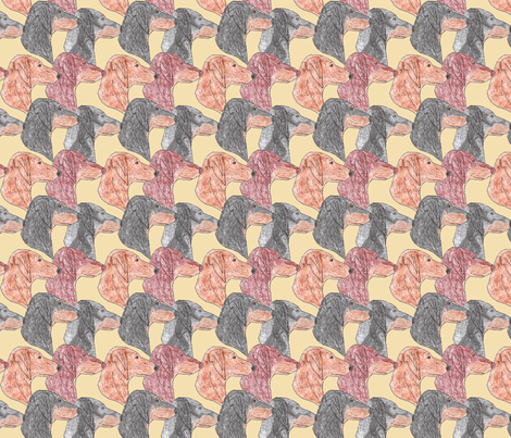 Dachshund faces - tan fabric by rusticcorgi on Spoonflower - custom fabric