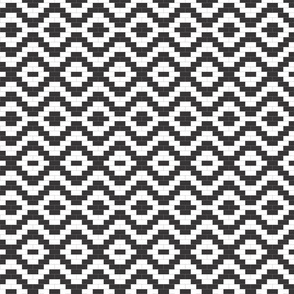 Brick Zigzag and Diamonds - Black and White