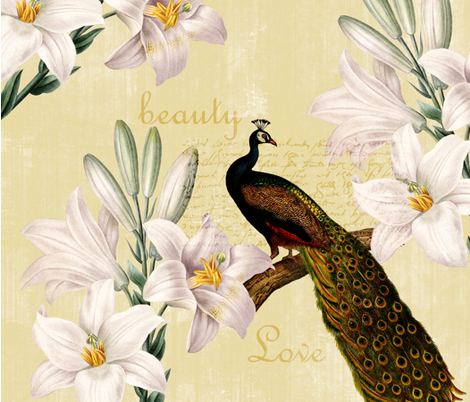 Peacock Lilies fabric by peacefuldreams on Spoonflower - custom fabric