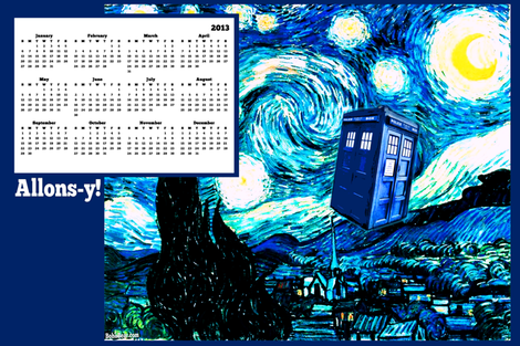 Doctor Who Inspired 2013 Tea Towel Wall Calendar fabric by bohobear on Spoonflower - custom fabric