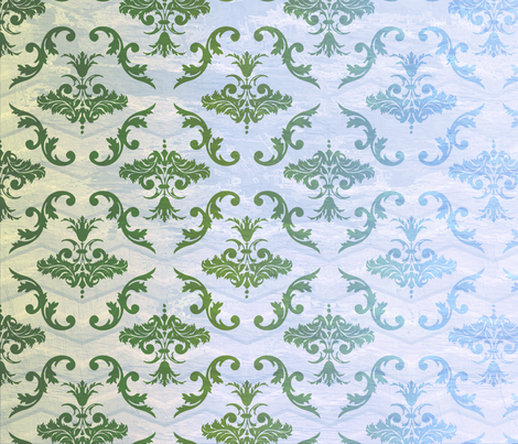 Green and Blue Damask fabric by peacefuldreams on Spoonflower - custom fabric