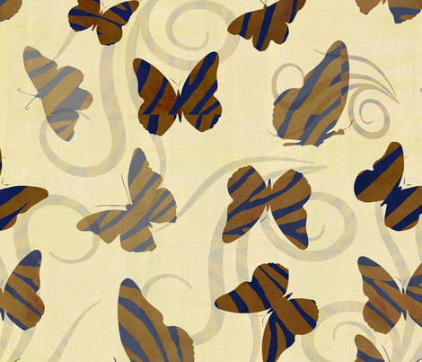 Gold Zebra Print Butterflies fabric by peacefuldreams on Spoonflower - custom fabric