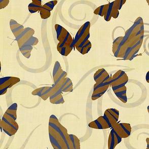 Gold Zebra Print Butterflies