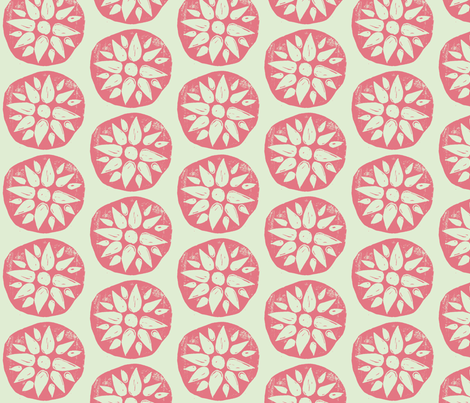 Flower Stamps - Coral/Mint fabric by owlandchickadee on Spoonflower - custom fabric