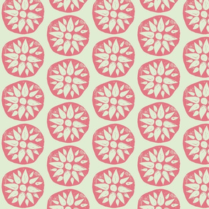 Flower Stamps - Coral/Mint