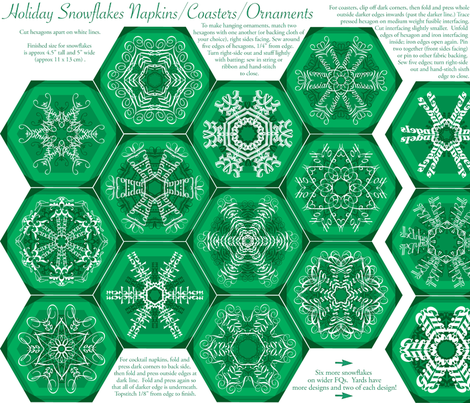 Calligraphic Snowflake napkins in green fabric by weavingmajor on Spoonflower - custom fabric
