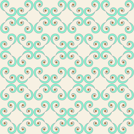Dotted Swirls in Turquoise or Aqua Blue fabric by fridabarlow on Spoonflower - custom fabric