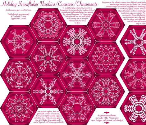 Calligraphic Snowflake napkins in cranberry fabric by weavingmajor on Spoonflower - custom fabric