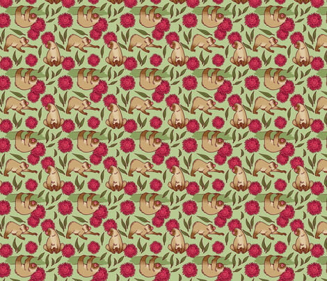 Sloth Pattern fabric by lydiapaige on Spoonflower - custom fabric