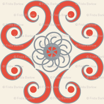 Dimpled Swirls in Red-Orange