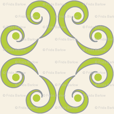 Dotted Swirls in Chartreuse or Green