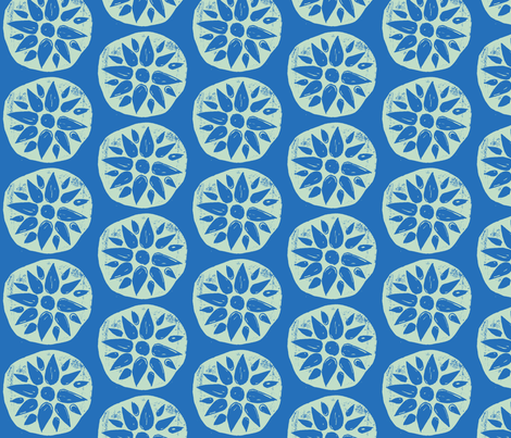 Flower Stamps - Bluel/Mint fabric by owlandchickadee on Spoonflower - custom fabric