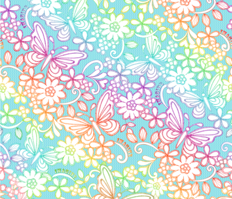 Rainbow_butterfly_rpt fabric by suzanne_cora on Spoonflower - custom fabric