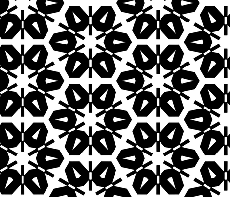 Siebold Black & White fabric by stoflab on Spoonflower - custom fabric