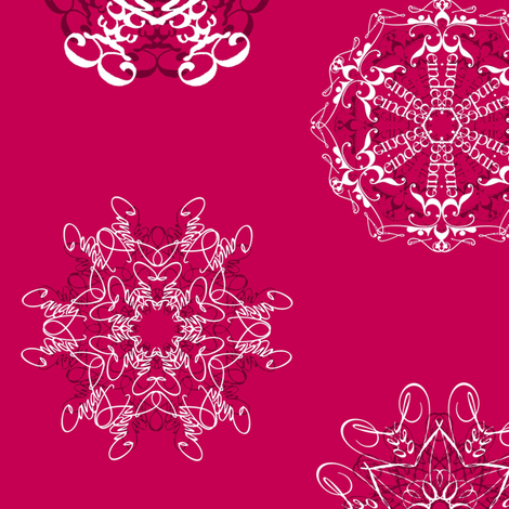 Calligraphic Christmas snowflakes on red fabric by weavingmajor on Spoonflower - custom fabric
