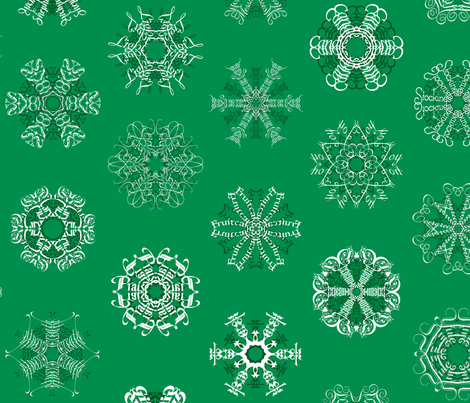 Calligraphic Christmas snowflakes on holly green
