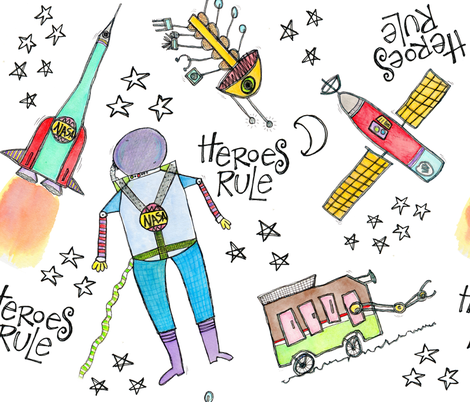 Heroes Rule fabric by marleyungaro on Spoonflower - custom fabric