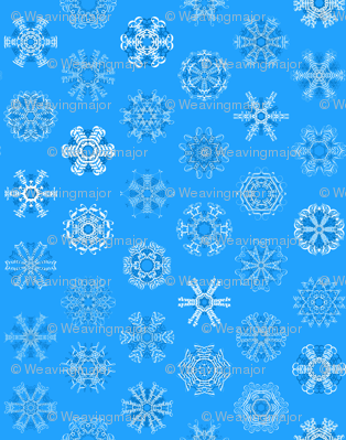Calligraphic Christmas snowflakes on ice blue