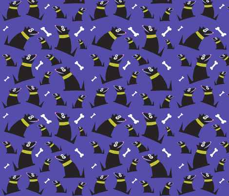 Dog and bone fabric by deborahjackel on Spoonflower - custom fabric