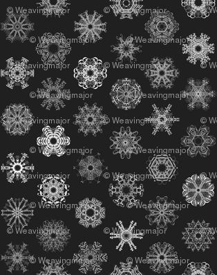 Calligraphic Christmas snowflakes on black