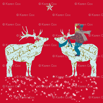 French script Reindeer on a magical night