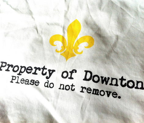 Property of Downton. Tea Towel. Fleur de Lis. Black & White & Sunny Yellow.