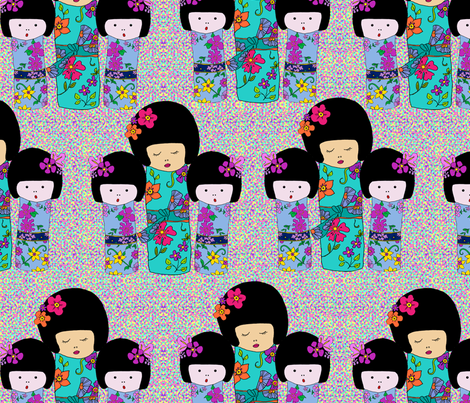Dolls on minidots fabric by linsart on Spoonflower - custom fabric
