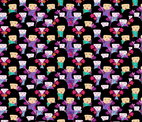 Kokeshi dolls all-over fabric by linsart on Spoonflower - custom fabric