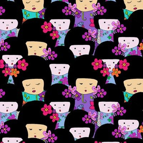 Kokeshi dolls all-over