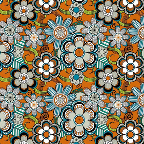 Mehndi Flowers in Orange Background
