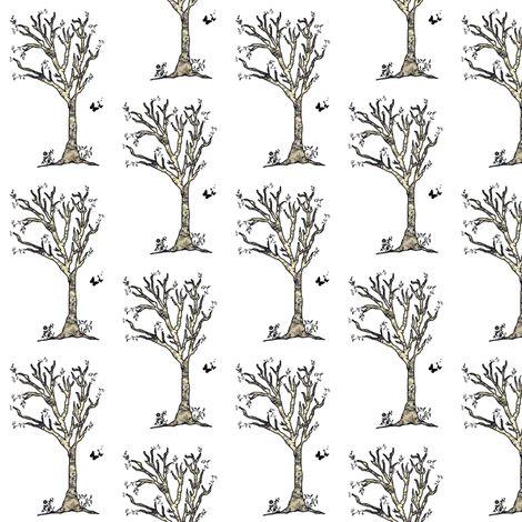 Toile Trees and Butterflies White and Cream fabric by bohobear on Spoonflower - custom fabric