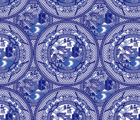 Tardis Blue Willow fabric by thirdhalfstudios on Spoonflower - custom fabric