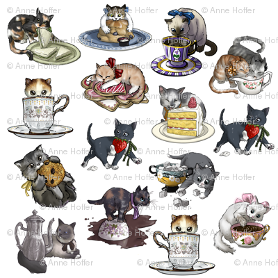 Kitten Tea Party Full Decal Set