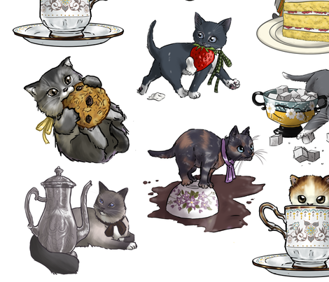 Kitten Tea Party Full Decal Set fabric by ninniku on Spoonflower - custom fabric