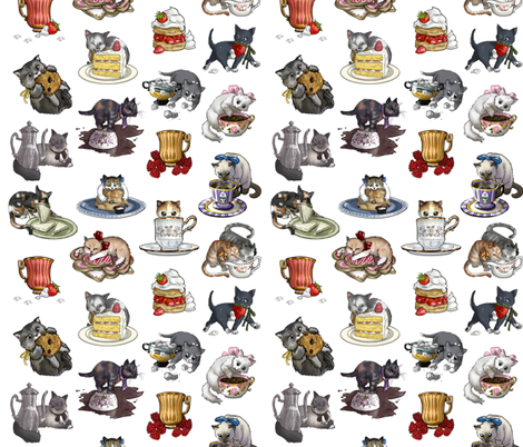 Kitten Tea Party Full Tea Party Set fabric by ninniku on Spoonflower - custom fabric