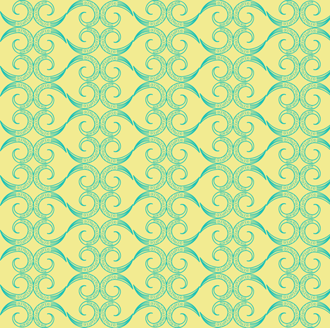 Intricate Hearts in Yellow fabric by fridabarlow on Spoonflower - custom fabric