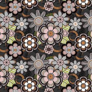 Mehndi Flowers in Dark Background